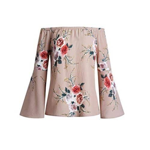 Blusa de mangas largas con flores y hombros descubiertos