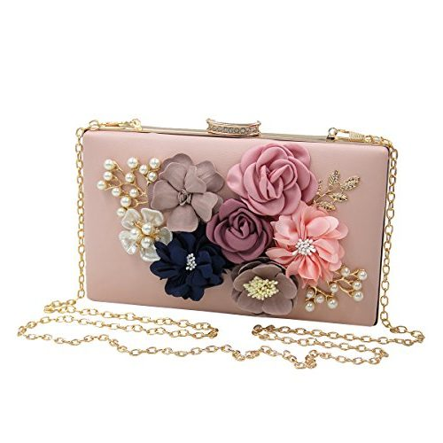 Bolso de noche rosa con flores en relieve