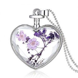 Colgante cristal de corazón y flores de lavanda