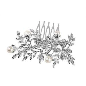 Peineta Rhinestone de hojas en plata