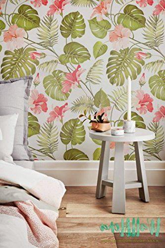 Papel autoadhesivo Tropical con patrón de hibisco y hojas de palmera