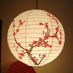 Lámpara linterna de papel china flor del ciruelo