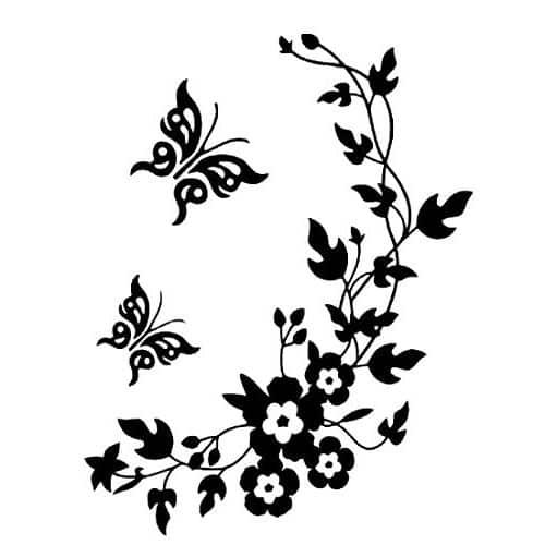 Pegatina decorativa flores y mariposas