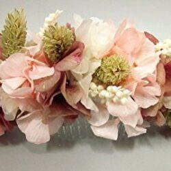 Peineta de hortensias, rosas y espigas