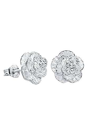 Pendientes de plata flor romántica