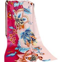 Pañuelo de seda de 180 cm con estampado de flores