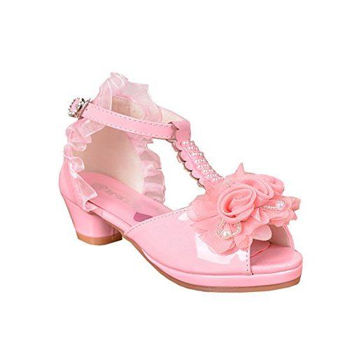Sandalias rosas de tacón bajo para mujer y flores estampadas