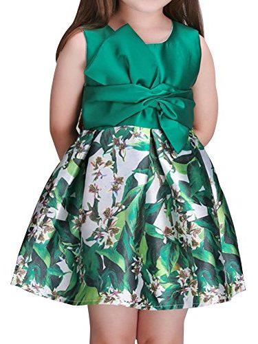 Vestido para niña verde con flores