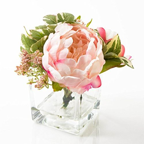 Centro recipiente de cristal con rosa artificial