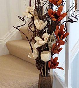 Jarrón de madera con flores artificiales 85 cm de alto