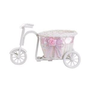 Cesta bicicleta con lazo rosa