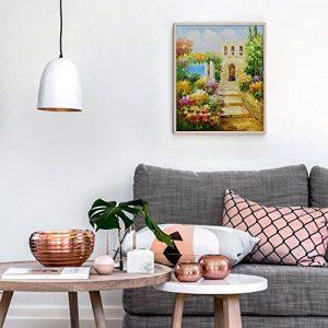 Pintura con paisaje y flores