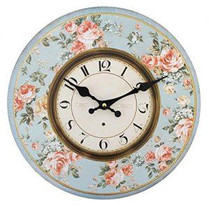 Reloj de pared redondo vintage de flores