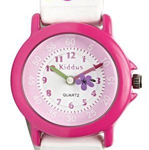 Reloj analógico para niñas, flores lilas