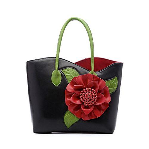 Bolso gran tamaño con flor en relieve