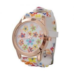 Reloj Sodial de silicona y flores multicolor