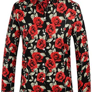 Camisa SSLR Hombre de Manga Larga de Algodón Estampada de Rosas