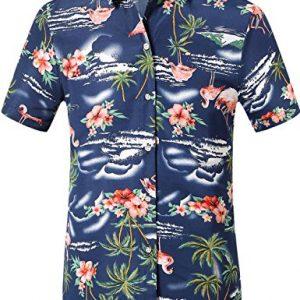 Camisa Hawaiana para Hombre Estampada de Flamencos y Flores