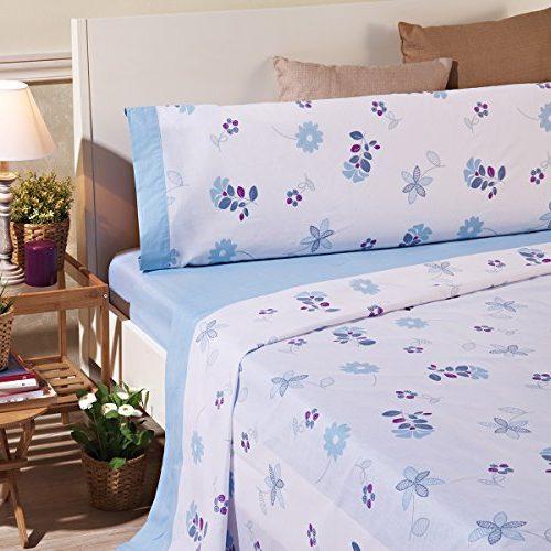 Juego de sábanas azules de flores, 3 piezas