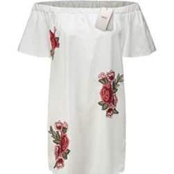 Vestido sin hombros con flores bordadas