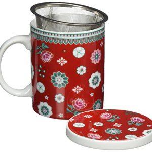 Taza de flores con filtro y tapa