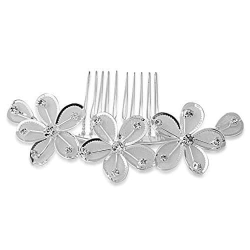 Peineta plata circonita con diseño de flores
