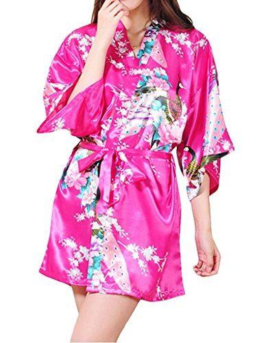 Pijama kimono con flores y pavo real