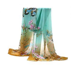 Pañuelo de seda primavera patrón de flores