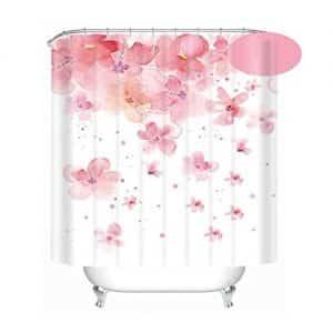 Cortina de baño pétalos rosados