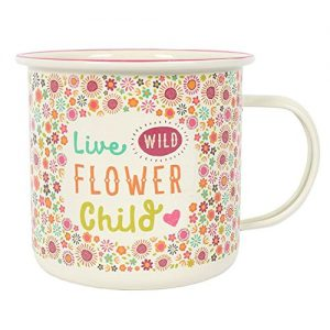 Taza de lata esmaltada Live Flower Child