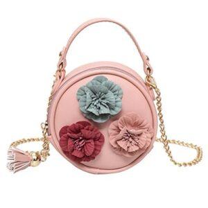 Mini bolso redondo con flores bordadas