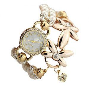 Reloj pulsera Tongshi de cuarzo y flores bañadas de oro