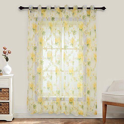 Cortina con flores transparente