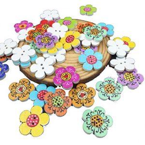 100 botones mixtos de flores ideales para scrapbooking