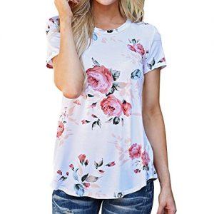 Camiseta de manga corta casual y con rosas impresas