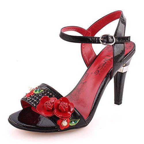 Tacón sandalia Unze 'Lavette' con flores rojas en relieve
