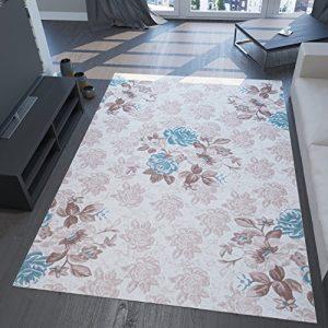 Alfombra elegante con efecto 3D e hilo lúrex, patrón floral