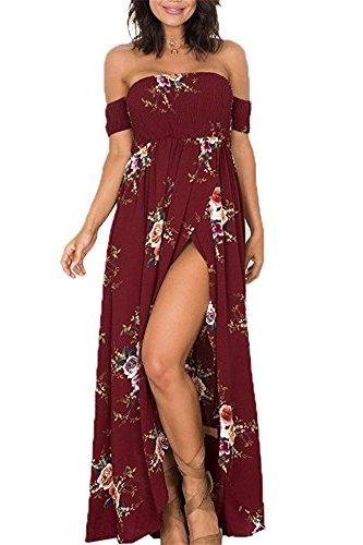 Vestido Boho largo de hombros descubiertos con estampado floral