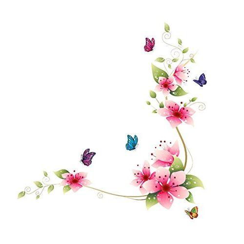 vinilo pared mariposas y flor roja