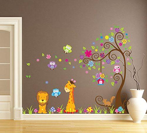 Vinilo infantil Árbol de Flores con Jirafa, Buho y León
