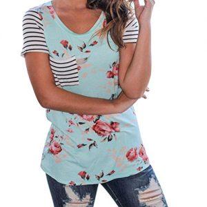 Camiseta Winwintom con rayas de manga corta y flores