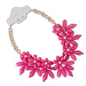 Collar espinas de flores rosa