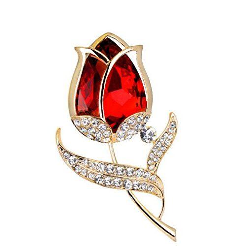 Broche YAZILIND Tulipán rojo decorado de piedras circonitas