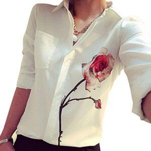 Blusa camisa para mujer ZARU flor rosa