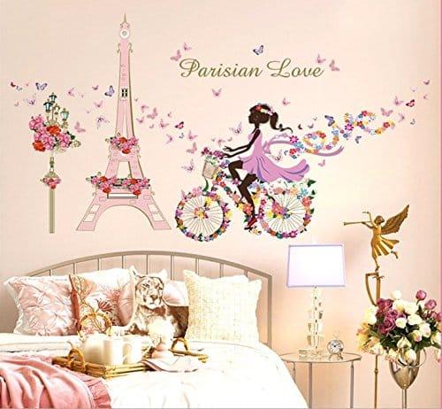 Vinilo Torre Eiffel y Hada en bicicleta de flores