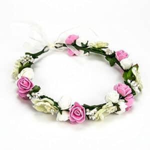 coronita de flores rosa