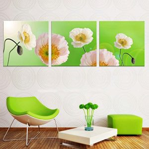 Tríptico minimalista con fondo verde
