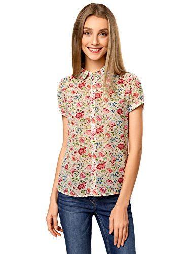 Blusa casual de manga corta y con flores