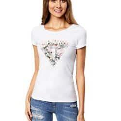 Camiseta con Estampado de Flores Triangular