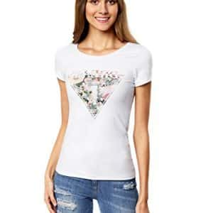 Camiseta con Estampado de Flores Triangular
